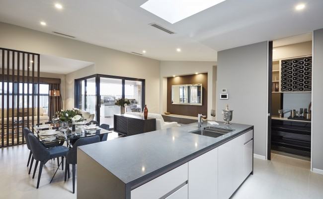Kitchen island, butlers walk in pantry